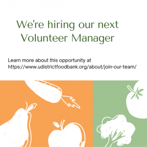 Image announcing a current job opening for our Volunteer Manager role