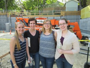Food Bank volunteers: Ria, Robyn, Erica, and Julia